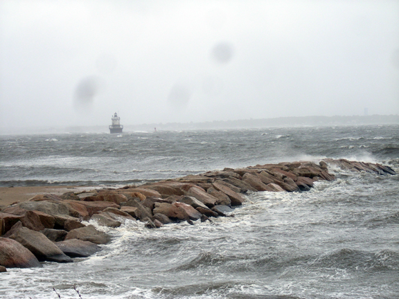 Butlers Flat Lighthouse - Hurricane Irene - 8-28-2011 - New Bedford, Ma - www.WhalingCity.net