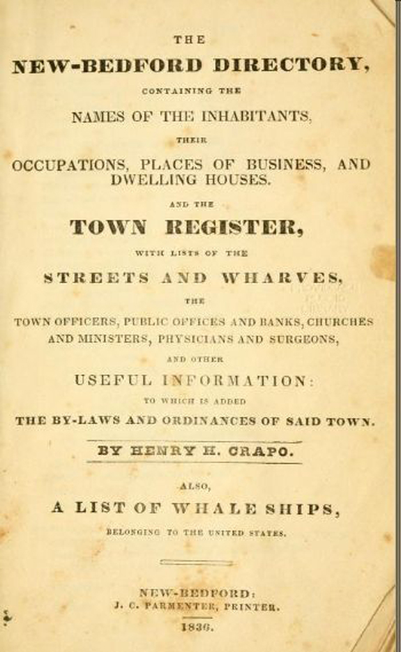 1836 New Bedford, Massachusetts  Directory - www.WhalingCity.net