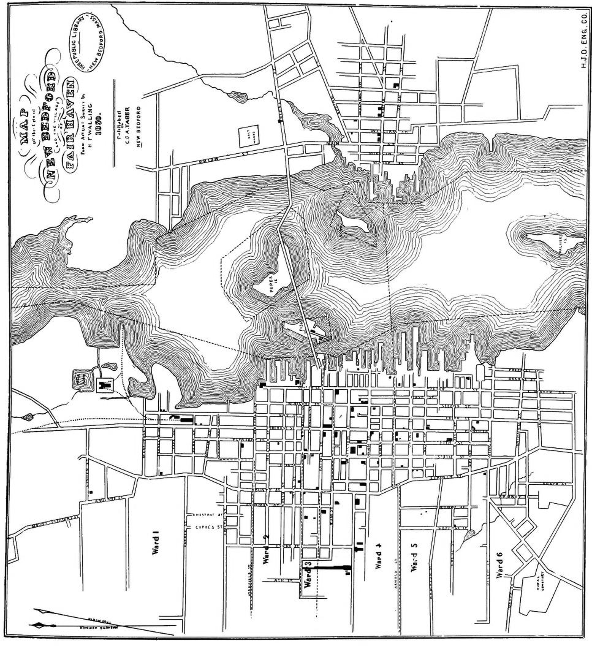 1850 Map of new Bedford Streets wwwWhalingCitynet