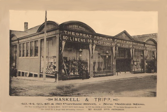 1894 Photograph of Haskell and Tripp's Dry Goods Store in New Bedford, Ma. - www.WhalingCity.net