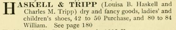 1897 New BEdford Directory Listing for Haskell and Tripp on Corner of Purchase and William - www.WhalingCity.net