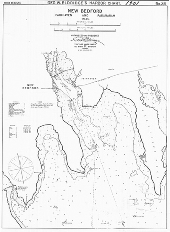 1901 NAutical Chart of New Bedord, Padanaram, Fairhaven - www.WhalingCity.net
