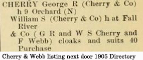 1905 New Bedford Directory listing for Cherry and Webb - www.WhalingCity.net