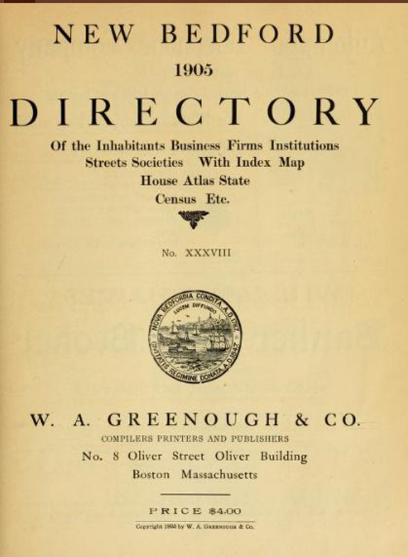 1905 New BEdford, Massachusetts Directory - www.WhalingCity.net