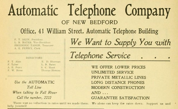 1906 Ad for Automatic telephone service in New Bedford, ma. - www.WhalingCity.net