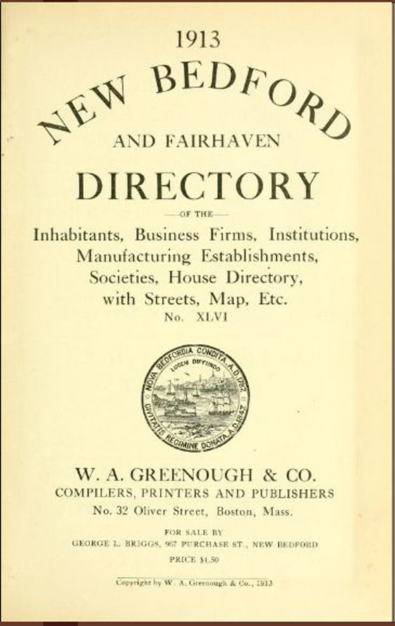 1913 new Bedford, Massachusetts Directory - www.WhalingCity.net