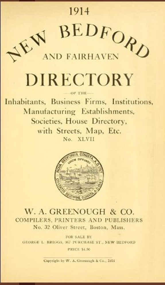 1914 New Bedford, Massachusetts Directory - www.WhalingCity.net