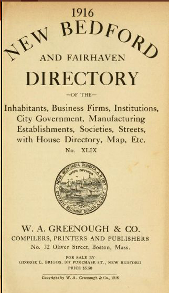 1916 new Bedford and Fairhaven Massachusetts Directory - www.WhalingCity.net