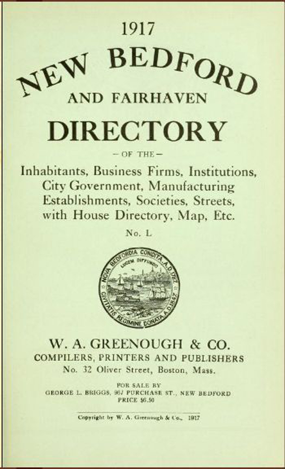 1917 New Bedford, Fairhaven, Massachusetts Directory - www.WhalingCity.net