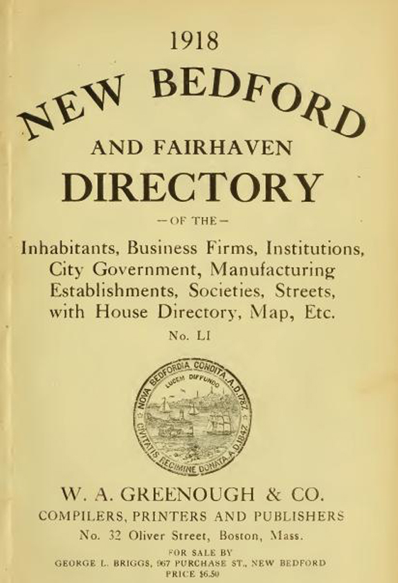 1918 New BEdford, Massachusetts  city directory - www.WhalingCity.net