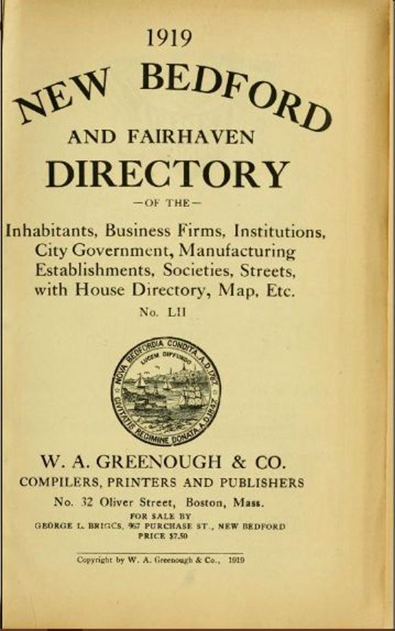 1919 New Bedford and Fairhaven, Massachusetts Directory - www.WhalingCity.net