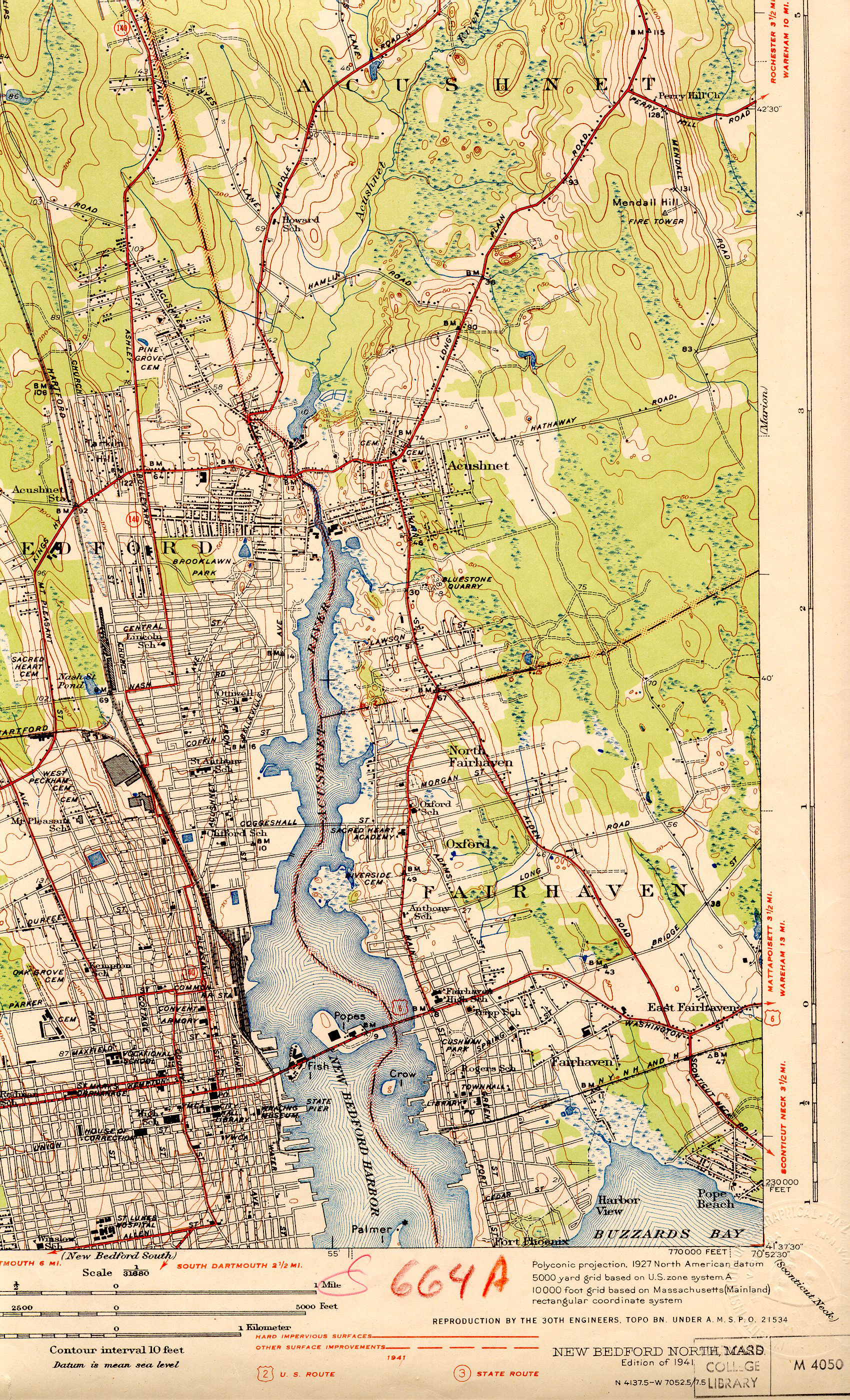 1936 Topographical Map of South East New Bedford and parts of