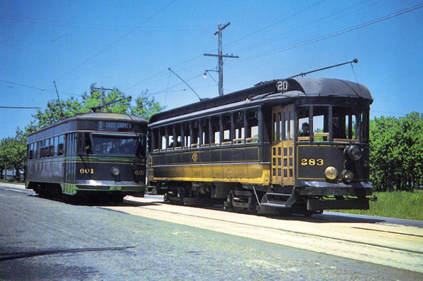 Union Street Railway Trolleys 601 and 283 June  1940 - www.Whal;ingCity.net