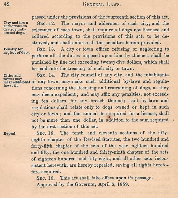 1860 section 3 Ordinances about dogs - new Bedford, MA - www.WhalingCity.net