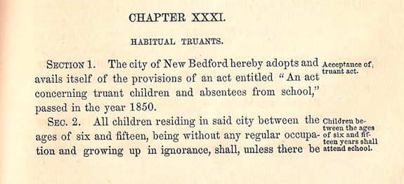 1860 Orinances - New Bedford Truancy section 1 - www.WhalingCity.net
