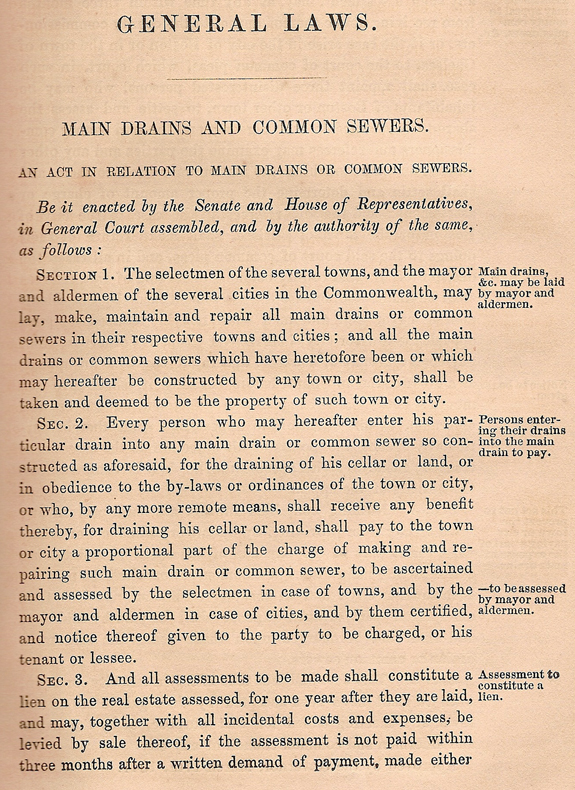 1860 New BEdford, Ma. Ordinances - Main Drains and Common Sewers - www.WhalingCity.net