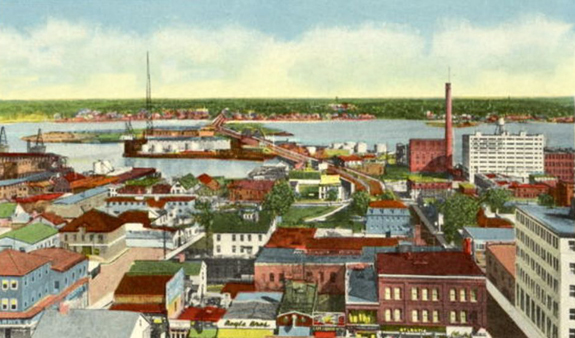 1900's new Bedford Fairhven Bridge - www.WhalingCity.net