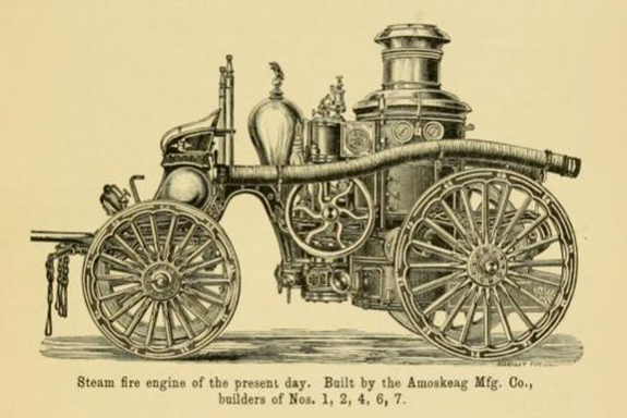 Steam powered fire engine in New BEdford, Ma. 1800's - www.WhalingCity.net